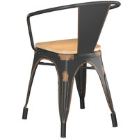 Lancaster Table & Seating Alloy Series Distressed Copper Metal Indoor Industrial Cafe Arm Chair with Natural Wooden Seat