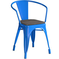 Lancaster Table & Seating Alloy Series Blue Metal Indoor Industrial Cafe Arm Chair with Black Wooden Seat