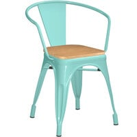 Lancaster Table & Seating Alloy Series Seafoam Metal Indoor Industrial Cafe Arm Chair with Natural Wooden Seat