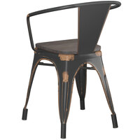 Lancaster Table & Seating Alloy Series Distressed Copper Metal Indoor Industrial Cafe Arm Chair with Black Wooden Seat