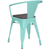 Lancaster Table & Seating Alloy Series Seafoam Metal Indoor Industrial Cafe Arm Chair with Black Wooden Seat