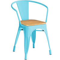 Lancaster Table & Seating Alloy Series Arctic Blue Metal Indoor Industrial Cafe Arm Chair with Vertical Slat Back and Natural Wood Seat