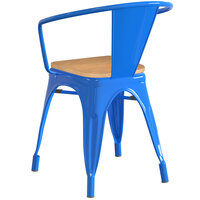 Lancaster Table & Seating Alloy Series Blue Metal Indoor Industrial Cafe Arm Chair with Natural Wooden Seat