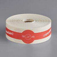 "TamperSafe 1 1/4"" x 9"" Red Paper Small Open Dome Lid Tamper-Evident Drink Label with Band - 250/Roll"