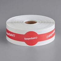 "TamperSafe 1 1/4"" x 9"" Red Paper Closed Dome Lid Tamper-Evident Drink Label with Band - 250/Roll"