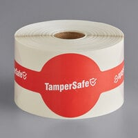 "TamperSafe 2 1/4"" x 9"" Red Paper Large Open Dome Lid Tamper-Evident Drink Label with Band - 250/Roll"