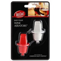 Tablecraft H33BK Easy Pour Red and White Plastic Wine Pourer / Aerator with Built-In Screen - 2/Pack