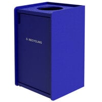 Commercial Zone 71TLRN42-00235 EarthCraft 42 Gallon Blue Square Modular Single-Stream Top Load Recycling Receptacle with Raised Edge Top