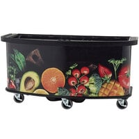 Cambro CVC75BW15 Black Polyethylene Open Well Vending Cart with Fruit and Veg Laminated Wrap - 75 inch x 33 1/2 inch x 38 3/4 inch