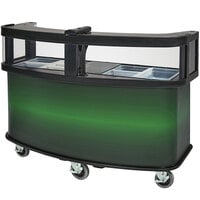 Cambro CVC75W12 Black Polyethylene Open Well Vending Cart with Green Laminated Wrap and Sneeze Guard - 75 1/8 inch x 33 1/2 inch x 53 1/8 inch