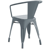 Lancaster Table & Seating Alloy Series Charcoal Metal Indoor / Outdoor Industrial Cafe Arm Chair