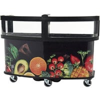 Cambro CVC75W15 Black Polyethylene Open Well Vending Cart with Fruit and Veg Laminated Wrap and Sneeze Guard - 75 1/8 inch x 33 1/2 inch x 53 1/8 inch
