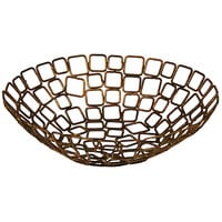 Front of the House BBK011GOI22 Coppered Link 10 inch x 3 inch Hand-Painted Fused Iron Round Basket - 6/Case