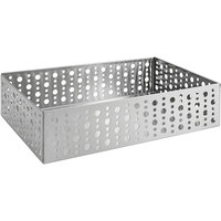 Front of the House BHO042BSS21 Dots 9 inch x 6 inch x 2 1/4 inch Stainless Steel Rectangular Basket - 4/Case