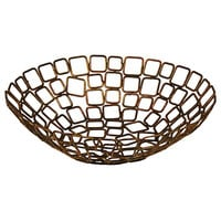Front of the House BBK013GOI22 Coppered Link 8 inch x 2 1/2 inch Hand-Painted Fused Iron Round Basket - 6/Case