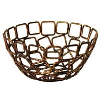 Front of the House BBK012GOI23 Coppered Link 5 1/2 inch x 2 1/2 inch Hand-Painted Fused Iron Round Basket - 12/Case