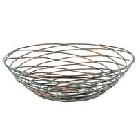 Front of the House BBK013PTI22 Patina 8 inch x 2 1/2 inch Hand-Painted Fused Iron Round Basket - 6/Case