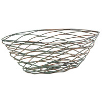 Front of the House TBB019PTI22 Patina 11 inch x 5 1/2 inch x 3 3/4 inch Hand-Painted Fused Iron Crescent Basket - 6/Case