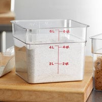 Cambro 6SFSCW135 6 Qt. Clear Square Polycarbonate Food Storage Container with Winter Rose Gradations