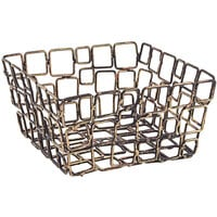 Front of the House BHO044GOI22 Coppered Link 6 inch x 6 inch x 3 inch Hand-Painted Fused Iron Square Basket - 6/Case