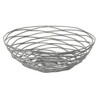 Front of the House BBK013GYI22 Patina 8 inch x 2 1/2 inch Pewter Hand-Painted Fused Iron Round Basket - 6/Case