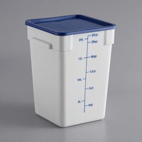 Choice 22 Qt. White Square Polypropylene Food Storage Container and Blue Lid