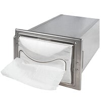 San Jamar H2003CLSS12 In-Counter Fullfold Stainless Steel Napkin Dispenser with Chrome Finish and Clear Face