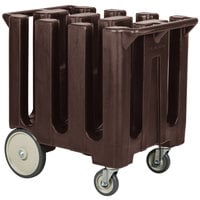 Cambro DC700131 Poker Chip Dark Brown Dish Dolly / Caddy with Vinyl Cover - 6 Column
