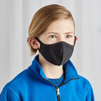Mercer Culinary M69019BK Customizable Black Reusable 2-Ply Polyester Anatomical Protective Youth Face Mask - 7 inch x 4 1/2 inch
