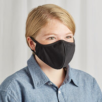 Mercer Culinary M69018BK Customizable Black Reusable 2-Ply Polyester Anatomical Protective Face Mask - 9 1/2 inch x 6 inch