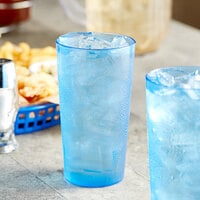 Choice 16 oz. Blue SAN Plastic Pebbled Tumbler - 12/Pack