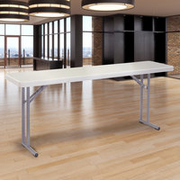 National Public Seating BT1872 18 inch x 72 inch Speckled Gray Plastic Folding Seminar Table