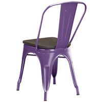 Lancaster Table & Seating Alloy Series Purple Metal Indoor Industrial Cafe Chair with Vertical Slat Back and Black Wood Seat