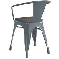Lancaster Table & Seating Alloy Series Charcoal Metal Indoor Industrial Cafe Arm Chair with Black Wood Seat