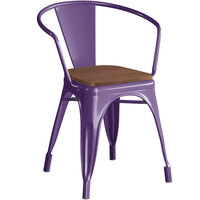 Lancaster Table & Seating Alloy Series Purple Metal Indoor Industrial Cafe Arm Chair with Walnut Wood Seat