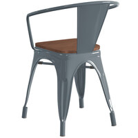 Lancaster Table & Seating Alloy Series Charcoal Metal Indoor Industrial Cafe Arm Chair with Walnut Wood Seat