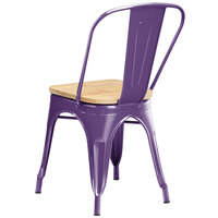 Lancaster Table & Seating Alloy Series Purple Metal Indoor Industrial Cafe Chair with Vertical Slat Back and Natural Wood Seat