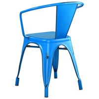 Lancaster Table & Seating Alloy Series Distressed Blue Metal Indoor / Outdoor Industrial Cafe Arm Chair