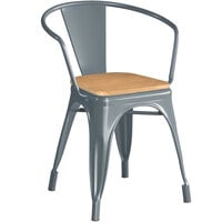 Lancaster Table & Seating Alloy Series Charcoal Metal Indoor Industrial Cafe Arm Chair with Natural Wood Seat