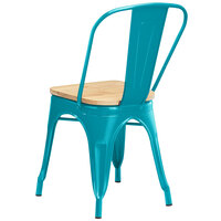 Lancaster Table & Seating Alloy Series Teal Metal Indoor Industrial Cafe Chair with Vertical Slat Back and Natural Wood Seat