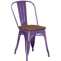 Lancaster Table & Seating Alloy Series Purple Metal Indoor Industrial Cafe Chair with Vertical Slat Back and Walnut Wood Seat
