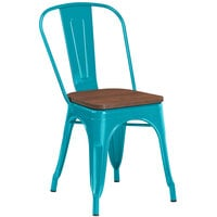 Lancaster Table & Seating Alloy Series Teal Metal Indoor Industrial Cafe Chair with Vertical Slat Back and Walnut Wood Seat