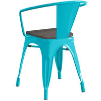 Lancaster Table & Seating Alloy Series Teal Metal Indoor Industrial Cafe Arm Chair with Black Wood Seat