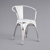 Lancaster Table & Seating Alloy Series Distressed White Metal Indoor / Outdoor Industrial Cafe Arm Chair