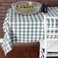 Intedge Blue Checkered Gingham Vinyl Table Cover with Flannel Back, 25 Yard Roll