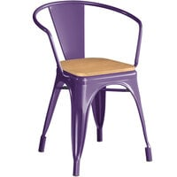 Lancaster Table & Seating Alloy Series Purple Metal Indoor Industrial Cafe Arm Chair with Natural Wood Seat