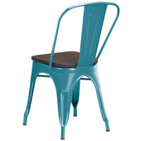 Lancaster Table & Seating Alloy Series Teal Metal Indoor Industrial Cafe Chair with Vertical Slat Back and Black Wood Seat