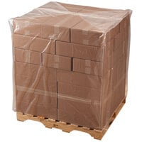 Lavex Industrial 32 inch x 28 inch x 96 inch 4 Mil Clear Gusseted Polyethylene Pallet Cover on a Roll - 40/Roll