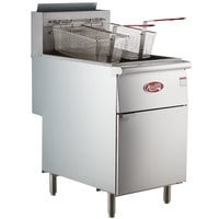 Avantco FF518 Natural Gas 70-100 lb. Stainless Steel Tube Floor Fryer