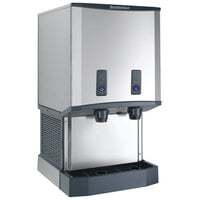 Scotsman HID540WB-1 Meridian Countertop Water Cooled Ice Machine and Water Dispenser with Push Button Dispensing - 40 lb. Bin Storage